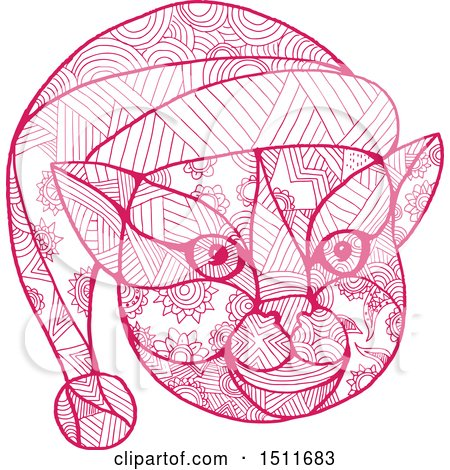 Clipart of a Pink Zentangle Styled Christmas Cat Face Wearing a Santa Hat - Royalty Free Vector Illustration by patrimonio