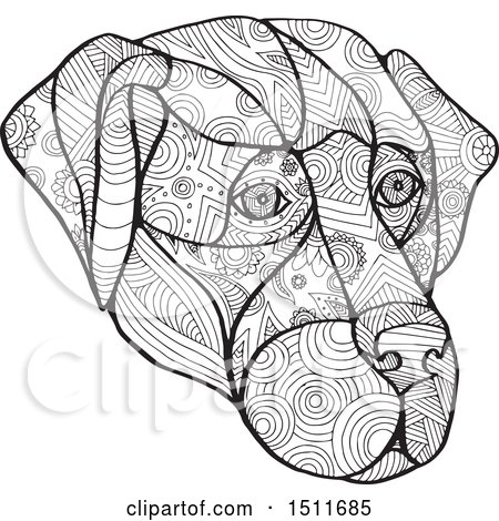 Clipart of a Black and White Zentangle Dog Face - Royalty Free Vector Illustration by patrimonio