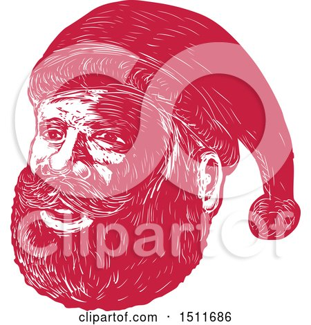 Clipart of a Red Woodcut Santa Claus Face - Royalty Free Vector Illustration by patrimonio