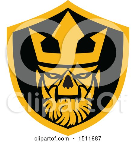 Clipart of a Neptune Skull in a Shield - Royalty Free Vector Illustration by patrimonio