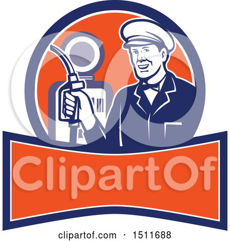 Clipart of a Retro Male Gas Station Attendant Holding a Nozzle over a Banner - Royalty Free Vector Illustration by patrimonio