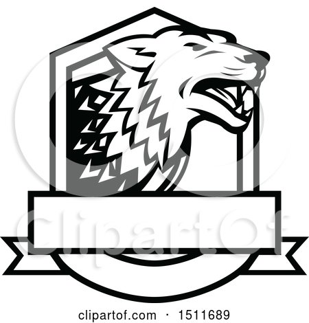 Clipart of a Black and White Wolf in a Crest - Royalty Free Vector Illustration by patrimonio