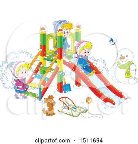 Clipart of a Cartoon Puppy and Children Playing on a Winter Playground - Royalty Free Vector Illustration by Alex Bannykh