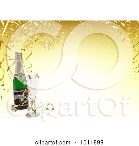Clipart of a 3d New Year Background with Fireworks, Streamers and Champagne - Royalty Free Vector Illustration by dero