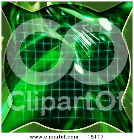 Green Grid And 3d Bubble Clipart Illustration by Anastasiya Maksymenko