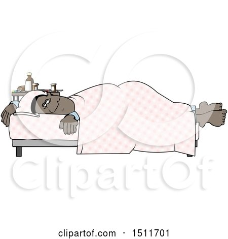 Clipart of a Cartoon Sick Black Man Resting in Bed - Royalty Free Illustration by djart