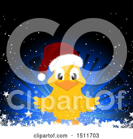 Clipart of a Christmas Chick Wearing a Santa Hat over a Blur Burst with Stars and Snow - Royalty Free Vector Illustration by elaineitalia