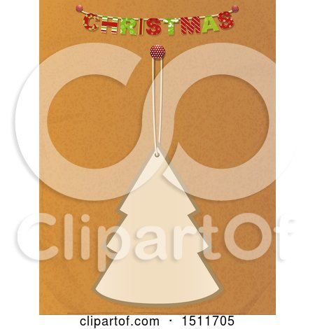 Clipart of a Christmas Tree Tag Hanging Under a Banner on Brown Paper - Royalty Free Vector Illustration by elaineitalia