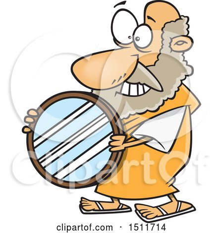 Clipart of a Cartoon Man, Archimedes, Holding a Mirror Parabolic Reflector - Royalty Free Vector Illustration by toonaday