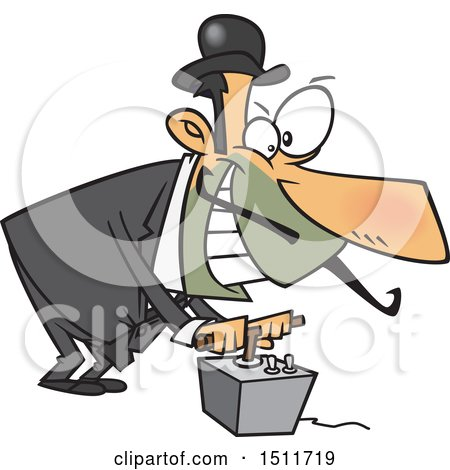 Clipart of a Cartoon Evil White Man Using a Detonator - Royalty Free Vector Illustration by toonaday