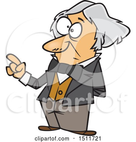Clipart of a Cartoon Man, Michael Faraday, Holding up a Finger - Royalty Free Vector Illustration by toonaday