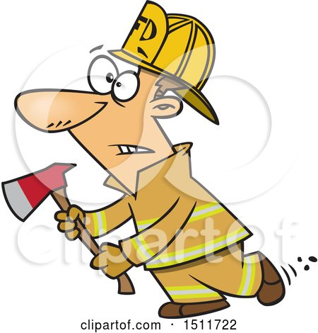 Clipart of a Cartoon White Male Fire Fighter Holding an Axe - Royalty Free Vector Illustration by toonaday