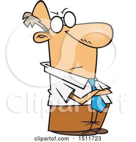Clipart of a Cartoon Impatient White Business Man with Folded Arms - Royalty Free Vector Illustration by toonaday