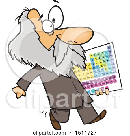 Clipart of a Cartoon Man, Dmitri Mendeleev, Carrying the Periodic Table of Elements - Royalty Free Vector Illustration by toonaday