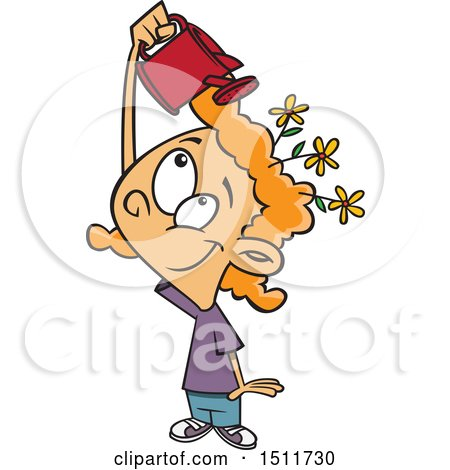 Clipart of a Cartoon White Girl Watering Flowers on Her Head, Mind Growth - Royalty Free Vector Illustration by toonaday