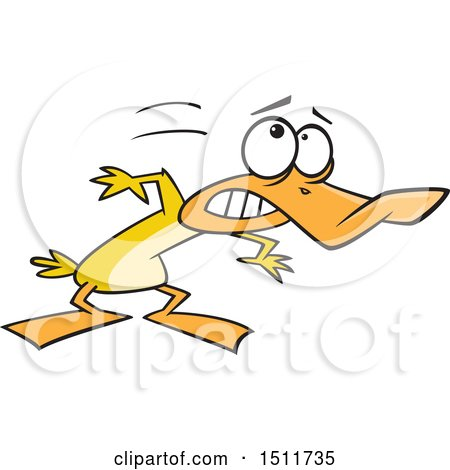 Clipart of a Cartoon Yellow Duck Ducking - Royalty Free Vector Illustration by toonaday
