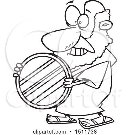 Clipart of a Cartoon Black and White Man, Archimedes, Holding a Mirror Parabolic Reflector - Royalty Free Vector Illustration by toonaday