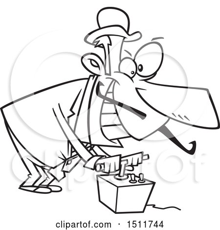 Clipart of a Cartoon Black and White Evil Man Using a Detonator - Royalty Free Vector Illustration by toonaday