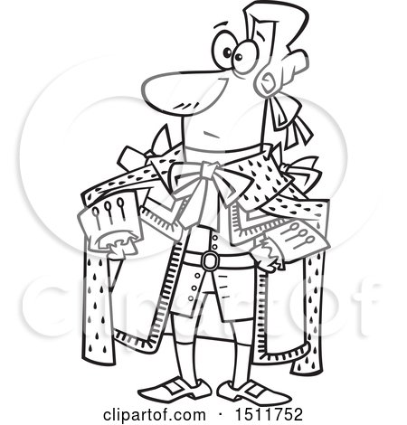 Clipart Of A Cartoon Black And White King George In A Yellow Outfit