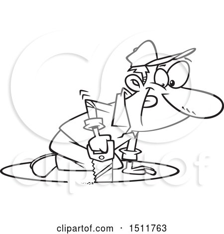 Clipart of a Cartoon Black and White Man Sawing a Circle in the Floor Around Himself - Royalty Free Vector Illustration by toonaday
