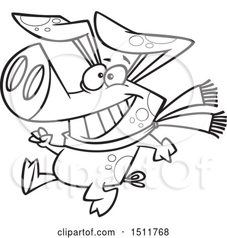 Clipart of a Cartoon Black and White Winter Pig Walking Upright and Wearing a Scarf - Royalty Free Vector Illustration by toonaday