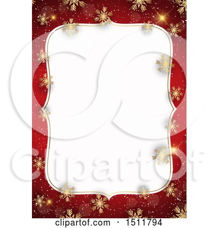 Clipart of a Red and Gold Christmas Snowflake Border - Royalty Free Vector Illustration by KJ Pargeter