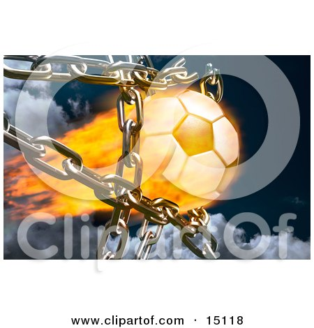 Feiry Soccer Ball Breaking Through Metal Chains While Making A Goal, Symbolizing Breaking Free, Speed, Strength, Victory, And Success Clipart Illustration by Anastasiya Maksymenko