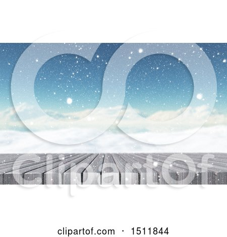Clipart of a 3d Snowy Winter Landscape with a Table or Deck - Royalty Free Illustration by KJ Pargeter