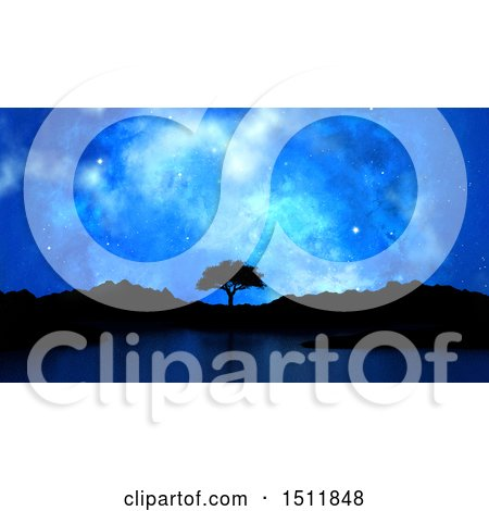 Clipart of a 3d Silhouetted Tree and Lake Under a Starry Sky - Royalty Free Illustration by KJ Pargeter