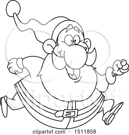 Clipart of a Lineart Santa Claus Running - Royalty Free Vector Illustration by yayayoyo