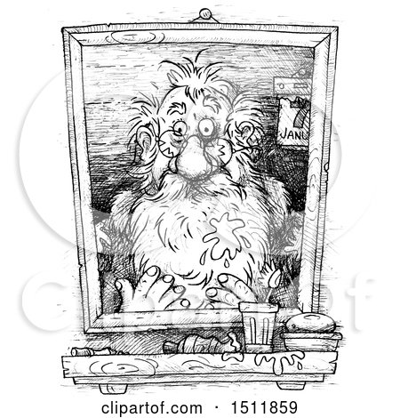 Clipart of a Sketched Portrait of Santa After the New Year, on a White Background - Royalty Free Illustration by Alex Bannykh