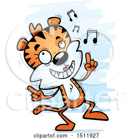 Clipart of a Happy Dancing Female Tiger - Royalty Free Vector Illustration by Cory Thoman