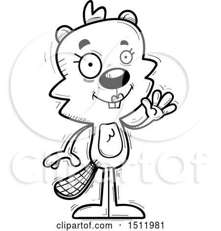 Clipart of a Black and White Friendly Waving Female Beaver - Royalty Free Vector Illustration by Cory Thoman