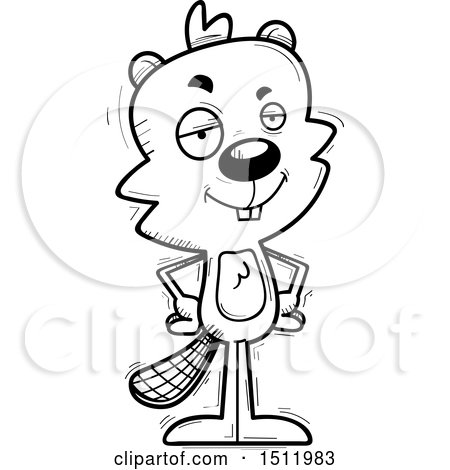Clipart of a Black and White Confident Male Beaver - Royalty Free Vector Illustration by Cory Thoman