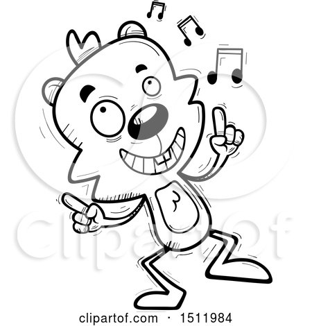 Clipart of a Black and White Happy Dancing Male Beaver - Royalty Free Vector Illustration by Cory Thoman