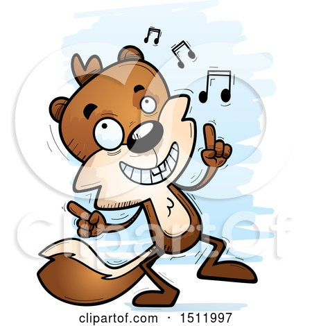 Clipart of a Happy Dancing Male Squirrel - Royalty Free Vector Illustration by Cory Thoman