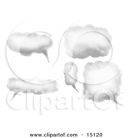 Collection Of Cloud Speech Or Thought Bubbles, One With A Question Mark Posters, Art Prints