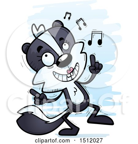 Clipart of a Happy Dancing Female Skunk - Royalty Free Vector Illustration by Cory Thoman