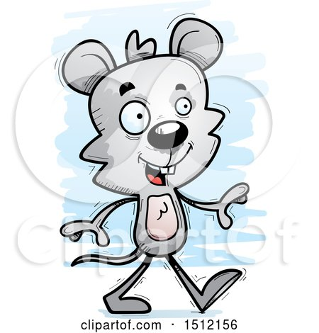 Clipart of a Happy Walking Male Mouse - Royalty Free Vector Illustration by Cory Thoman