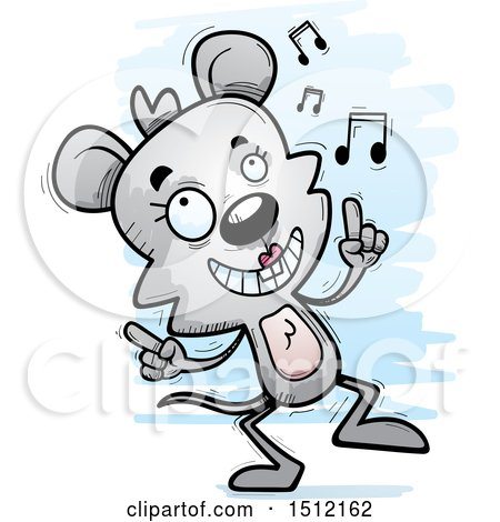Clipart of a Happy Dancing Female Mouse - Royalty Free Vector Illustration by Cory Thoman