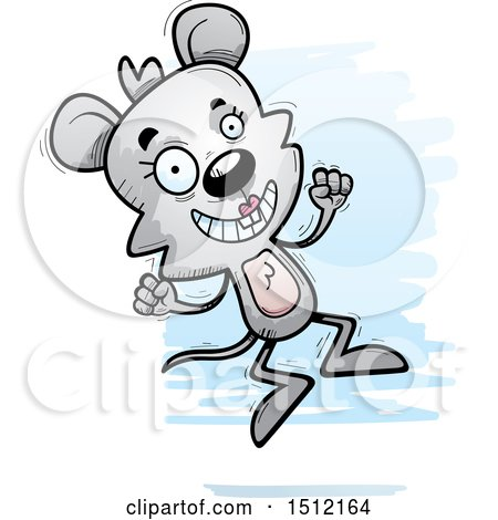 Clipart of a Jumping Female Mouse - Royalty Free Vector Illustration by Cory Thoman