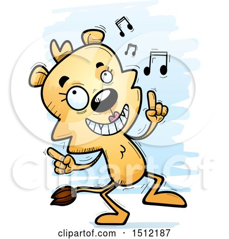 Clipart of a Happy Dancing Lioness - Royalty Free Vector Illustration by Cory Thoman