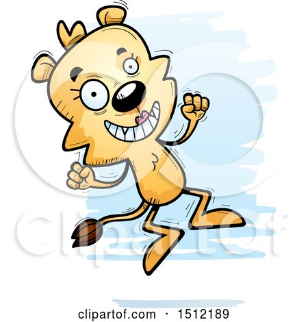 Clipart of a Jumping Lioness - Royalty Free Vector Illustration by Cory Thoman
