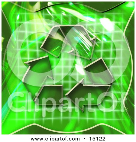 Green Background With Circling Arrows Over A Graph, Symbolizing Renewable Energy Or Recycling Clipart Illustration by Anastasiya Maksymenko