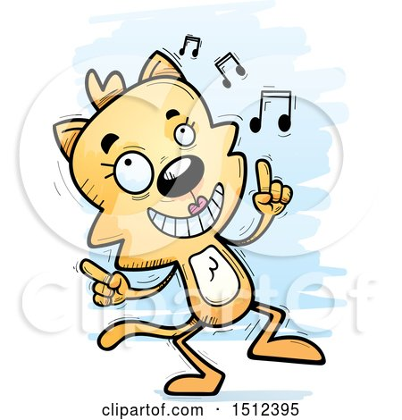 Clipart of a Happy Dancing Female Cat - Royalty Free Vector Illustration by Cory Thoman