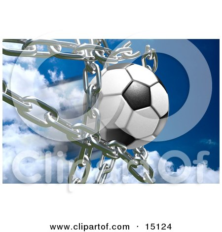 Soccer Ball Breaking Through Metal Chains While Making A Goal, Symbolizing Breaking Free, Strength, Victory, And Success Clipart Illustration by Anastasiya Maksymenko