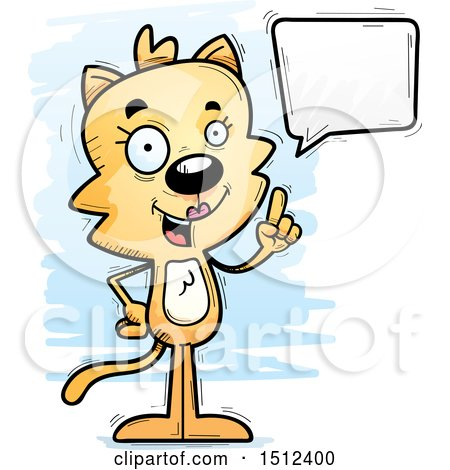 Clipart of a Happy Talking Female Cat - Royalty Free Vector Illustration by Cory Thoman