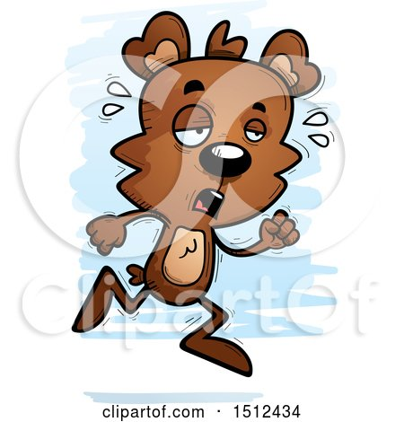 Clipart of a Tired Running Male Bear - Royalty Free Vector Illustration by Cory Thoman