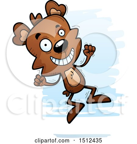 Clipart of a Jumping Male Bear - Royalty Free Vector Illustration by Cory Thoman