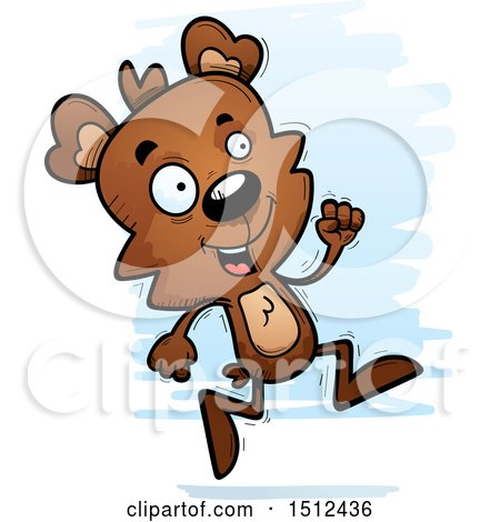 Clipart of a Running Male Bear - Royalty Free Vector Illustration by Cory Thoman